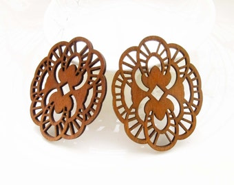 Dyeing Series - 6 PCS 44x 56mm Variety of Colors Filigree Laser Cut Lace Wood Dangle/ Wood Charm/Pendant NM07