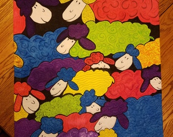 Counting Sheep Original Art Quilt 2nd place winner at Mutton Hill Quilt Show 2016 Akron Ohio