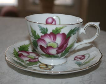 Vintage Poppy August Fine Bone China Cup and Saucer White Yellow Pink Gold Poppy Flowers Shabby Cottage Chic