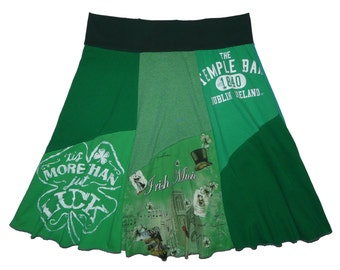 Plus Size 2X 3X Saint Patrick's Day Upcycled Skirt Women's recycled t-shirt clothing from Twinkle