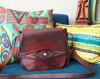 Groovy Vintage 70s Leather + Turqoise Stone Hippie Purse 1970s Dark Star Tucson Snakeskin Artisan Handbag Bag Embellished Southwest Western
