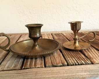 Pair of Vintage Brass Candle Stitch Holder India
