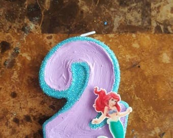 Ariel Purple and Aqua Glitter Painted Candle - birthday candle painted candle birthday party cake candle cake topper party little mermaid