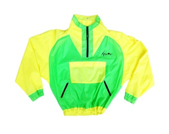Rad 80s Fluor Fashion Full Neon Shell Windbreaker - L