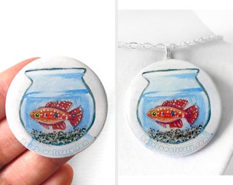Fish Necklace, Fishbowl Art, Fish Bowl, Jewelfish, Pet Jewelry, Resin Pendant, Fish Owner Gift, Original Painting, Hand Painted Wood
