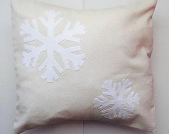 Snowflake pillow, holiday pillows, winter pillow cover, modern winter decor, classy winter decor, white Christmas decor, snowflake decor