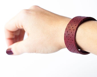 Leather Bracelet / Slim Cuff / Oxblood Perforated