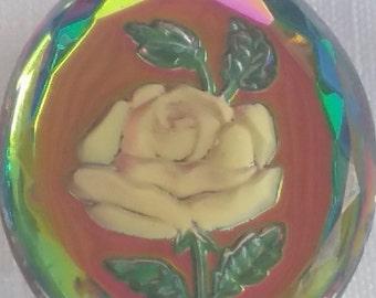 VINTAGE glass cabochon FOIL rose ornate 25x40mm (1) rainbow