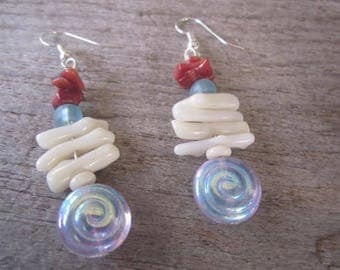 coral and glass earrings, tropical earrings, colorful Hawaiian jewelry, branch coral with sea glass