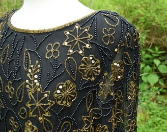 Womens Silk Beaded Tunic Large Black with Gold Black Hand Beading by Designer Papell Boutique Evening