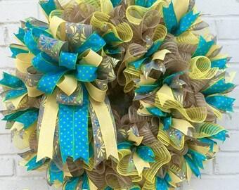 Spring/Summer Jute Mesh Wreath, Turquoise Wreath, Polka Dot Wreath, Summer Wreath, Jute Mesh Wreath, Ruffled Wreath, Ruffle Wreath