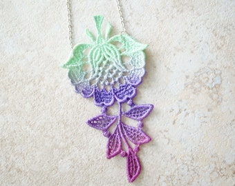 Lace Statement Necklace in Mint Purple and Pink Ombre
