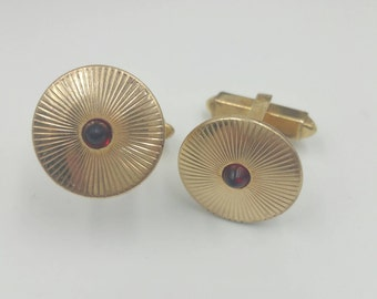 12k Gold Filled Cufflinks Red Bullet Tip Accent Cuff Links Traditional Men's Jewelry