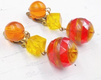Dangling Clip Earrings, Vintage Lucite Clip On Dangle Earrings, Yellow Orange Red Lucite Clip Ons, 1970s Plastic Jewelry