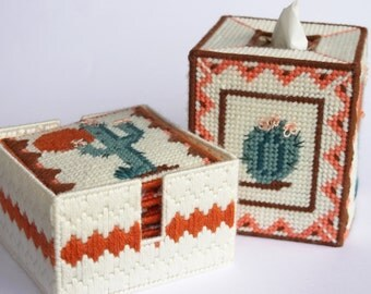 Cactus tissue box cover or Bank southwest and 6 matching coasters with holder Plastic canvas