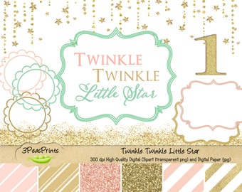 Twinkle Twinkle Little Star Clipart and Digital Paper Pack - Gold Glitter, Pink and Mint Clipart and Paper - Instant Download