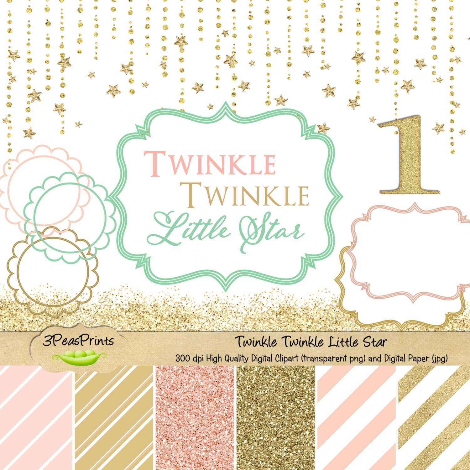 Twinkle Twinkle Little Star Clipart and Digital Paper Pack