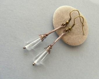 Wire earrings, contemporary earrings, clear glass beaded, gift for women, boho jewelry, wire jewelry, slim earrings, Ice