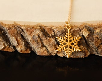 Snowflake Necklace, Available in Sterling Silver or Vermeil and Gold Filled