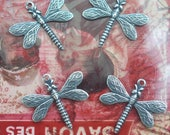 FOUR Dragonfly Brass Charms, Sterling Silver Finish