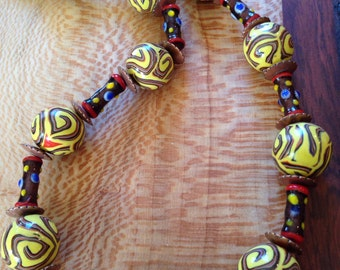 Polymer clay and glass Bali bead necklace.