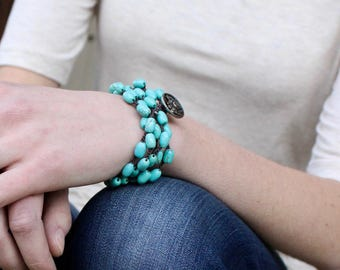 hand crocheted turquoise necklace/ wrap bracelet