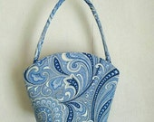 Vintage Margaret Smith blue paisley tote bag