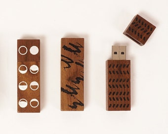 16GB walnut flash drive with pattern detail | ECHO