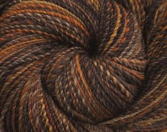 Handspun yarn - Hand painted Gray Shetland wool, Worsted weight, 370 yards - Prairie Grouse