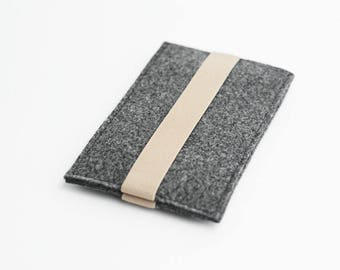 iPhone felt sleeve, Samsung S7 case, gray with beige strap