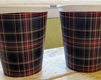 Stewart Black Tartan Plaid Hot/Cold Paper Party Cups - Set of 12