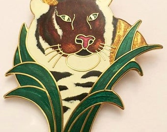 Vintage Cloisonne Tiger Brooch