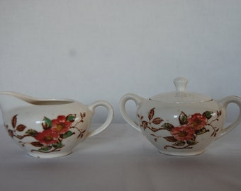 Vintage Nasco Springtime Sugar Bowl and Creamer Set Japan