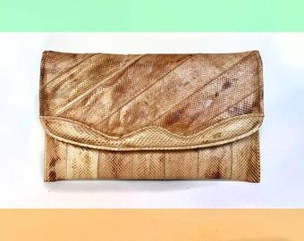 Vintage Slim Peachy Tan Neutral Snake Skin Envelope Clutch