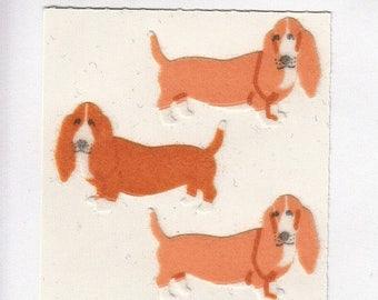 SALE Rare Vintage Sandylion Fuzzy Basset Hound Stickers - 80's Dog Puppy Canine Doggo Pupper Scrapbook Collage