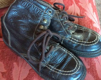 VINTAGE ESPIRIT BOOTS, leather, lace up, funky, awesome, well made, 80's