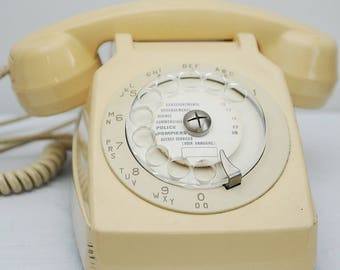 French Socotel Telephone in Cream with Rotary Dial and Mother-In-Law Listening Receiver