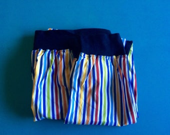 LE GIRAFFE - Vintage Italian Handmade Multicolor Striped Lounge Pants - S/M