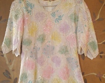 80s white lace beaded and sequin blouse