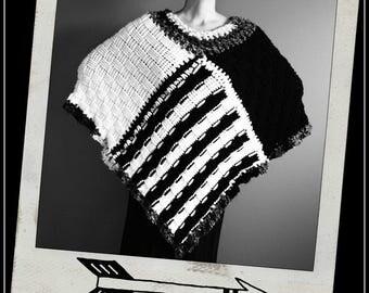 Crochet Poncho,Knit Poncho,Chunky Knit,Crochet Shawl,Knit Shawl,Cape,Coat,Handmade Wrap,Sweater,Hippie,Gypsy,Womens Clothing,Black,White,