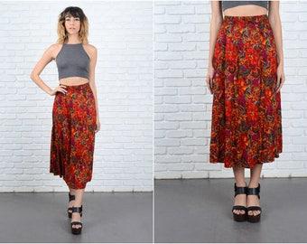 Vintage 80s Red Floral Pirnt Skirt Jungle Ethnic high Waist A Line S M 9312