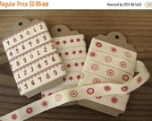 "SALE Printed Ivory Cotton Ribbon 5/8"" width 3 Yards Red Buttons, Stars or Centimeters"