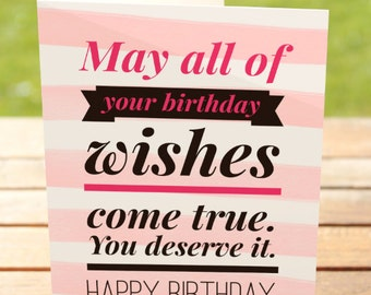 Birthday Card   Pink & Black Typography Wish Quote   A7 5x7 Folded - Blank Inside - Wholesale Available