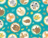 FLANNEL - Animal Head Medals on Teal from Northcott's Teepee Time Collection by Deborah Edwards