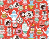 """End of Bolt- 25""""x44"""" of Mad Hatter's Tea Party on Red from Blend Fabric's Wonderland Collection by Josephine Kimberling"""