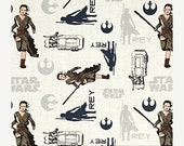 SALE SALE SALE Star Wars The Force Awakens Rey on White from Camelot Fabrics