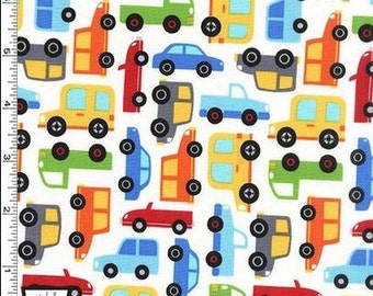 Cars Allover on White in Michael Miller's Traffic Jam Collection - Choose Your Cut