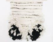 Black and White Shag / Hand Woven Wall Hanging / Woven Tapestry
