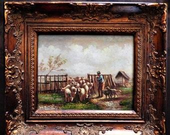 Sale Antique Vintage Impressionist Oil Painting Shepherd Farmer and His Sheep European Genre Gold Frame Home Decor Art
