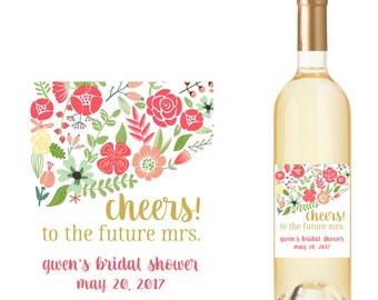 Bridal Shower Wine Bottle Labels with Flowers and Cheers!